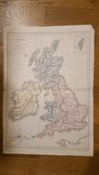 CARTE PHYSIQUE ET POLITIQUE  DES ILES BRITANNIQUES  PAR DRIOUX ET LEROY 47 X 33 CM - Cartes Géographiques