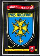 0761. BLASON ADHESIF . PAYS HUGUENOT . VILLES ET PROVINCES DE FRANCE . Recto/verso) - France