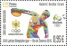 CG 2016-1238 OLYMPIC GAMES RIO, CRNA GORA MONTE NEGRO, 1 X 1v, MNH - Eté 2016: Rio De Janeiro