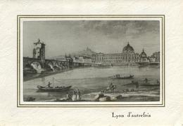 Soierie Lyonnaise .  Lyon Hôtel-Dieu Et Ancien Pont De La Guillotière .  Charmant Tableau En Soie Imprimée . SUPERBE . - Lyon 2
