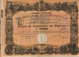 1870 - Cie Parisienne D'Eclairage Et De Chauffage Par La Gaz -Action De Jouissance Au Porteur - Tres Décorée - Electricité & Gaz