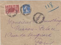 Env Affr Y&T 279 + 318 Obl MULHOUSE RUE DE FRANCE Du 6.10 36 Adressée à Paris - Poststempel (Briefe)