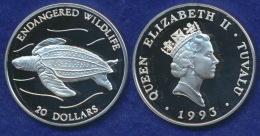 Tuvalu 20 Dollar 1993 Lederschidlkröte Ag925 - Tuvalu