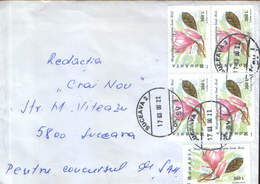 Romania - Letter Circ.in 2000 - Flowers - Magnolia Soulangiana  In Block Of 4 - 2/scans - Brieven En Documenten