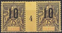 """N° 75 - Neuf Sans Gomme - Millésime """" 4 """" - Gabon (1886-1936)"""