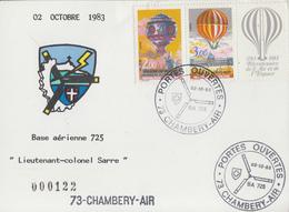 Carte   Journée  PORTES  OUVERTES     Base  Aérienne  725   CHAMBERY   1983 - Militaria