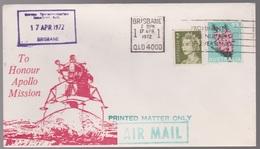 Apollo Mission 1972 Australia Overseas Telecommunications Commission Brisbane SPACE Flight Cover - FDC