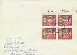 BRD 4x749 Eckrandviererblock Auf Auslandsbrief - BRD