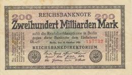200 Milliarden Mark 1923 Nr. 118b KN 6-Stellig FZ RL - 1918-1933: Weimarer Republik