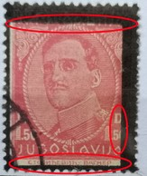 KING ALEXANDER-1.50 D-MEMORIJAL STAMPS-BLACK OVERPRINT-ERROR-ENGRAVERS NAME-RARE-YUGOSLAVIA-1934 - 1931-1941 Royaume De Yougoslavie