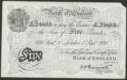BANK OF ENGLAND, GREAT BRITAIN £5 POUNDS 1938  K. O.PEPPIAT P-335a B241 VF-XF - …-1952 : Before Elizabeth II