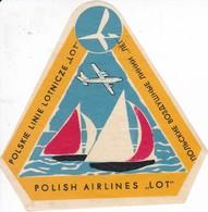 ANTIGUA ETIQUETA DE LA COMPAÑIA AEREA POLISH AIRLINES LOT  (AVION-PLANE) POLSKA-POLONIA - Étiquettes à Bagages
