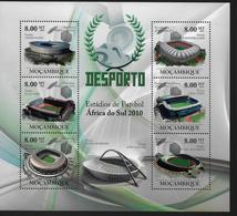 MOZAMBIQUE  Feuillet   N°  ( 2010 )  * *  Cup 2010 Football Soccer Fussball Stades - 2010 – Afrique Du Sud
