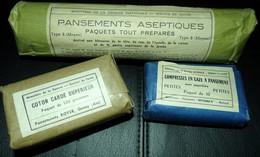 LOT DE 3 PANSEMENTS INDIVIDUELS FRANCAIS ,PANSEMENTS ACEPTIQUES,COTON CARDE SUPERIEUR,COMPRESSES EN GAZE , ETAT NEUF VOI - Equipment