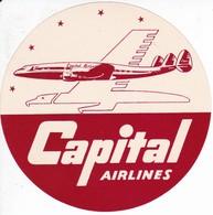 ANTIGUA ETIQUETA DE LA COMPAÑIA AEREA CAPITAL AIRLINES (AVION-PLANE) - Étiquettes à Bagages