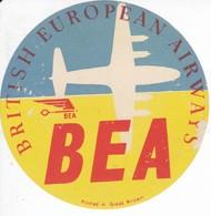ANTIGUA ETIQUETA DE LA COMPAÑIA AEREA BRITISH EUROPEAN AIRWAYS (AVION-PLANE) BEA - Étiquettes à Bagages