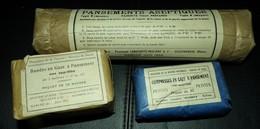 LOT DE 3 PANSEMENTS INDIVIDUELS FRANCAIS GUERRE INDOCHINE ,PANSEMENTS ACEPTIQUES 1952 ,BANDES EN GAZE 1951 ,COMPRESSES E - Equipment