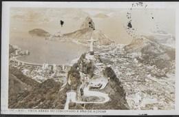 BRASILE - RIO VISTA AEREA CORCOVADO E PAO DE ACUCAR - FOTO FORMATO PICCOLO  - VIAGGIATA 1962 FRANCOBOLLO ASPORTATO - Rio De Janeiro