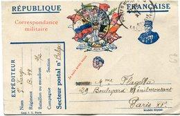 FRANCE CARTE DE FRANCHISE MILITAIRE DEPART POSTES MILITAIRES 16 XI 16 BELGIE POUR LA FRANCE - Marcophilie (Lettres)
