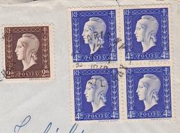 Lettre Paris 1948 Bloc De 4 Marianne De Edmond Dulac London England - 1944-45 Marianne Van Dulac