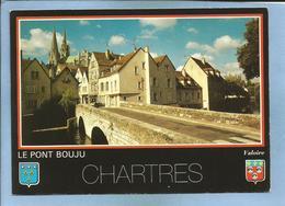 Chartres (28) Bords De L'Eure & Pont Bouju Flèches De La Cathédrale 2 Scans Blasons - Chartres