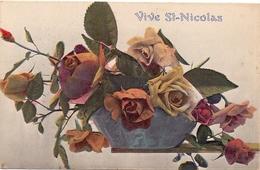CP - Vive St- Nicolas - Vase - Fleurs - Vaas Met Bloemen - Saint-Nicolas