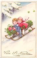 CP - Vive St - Nicolas - 2 Enfants - 2 Kinderen Op Slede - Illustr Hannes Pedersen - Saint-Nicolas