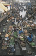 THAILAND - RAJBURI - MERCATO SULLE BARCHE - VIAGGIATA 1977 FRANCOBOLLO ASPORTATO - Tailandia