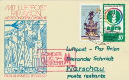 DDR Messeflugbeleg Leipzig-Warschau 15.3.1980 - DDR