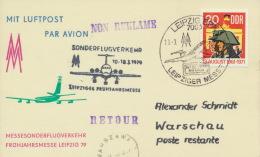 DDR Messeflugbeleg Leipzig-Warschau 10.3.1979 - DDR