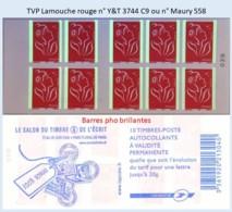 FRANCE - Carnet Barres Pho Brillantes - TVP Lamouche Rouge - YT 3744 C9 / Maury 558 - Carnets