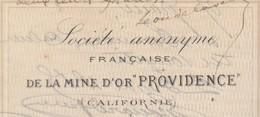 """Lettre De Change / Première 1885 / SA Française / Mine D' Or """"Providence"""" / Californie / Amérique / 11 Narbonne Aude - Cambiali"""