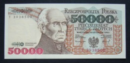 Polonia 50.000 Zloty 1989 Cifra Rossa UNC FdC Poland Red - Polonia