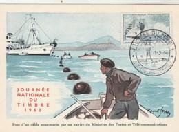 Carte Maximum  Yvert 1245 Journée Du Timbre 1960 - AIX En Provence - Bateau - 1960-69