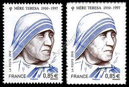 Francia / France 2010: 2 Val. Madre Teresa Gommato E Autoadesivo / Mother Teresa, Gummed And Self-adhesive Stamps ** - Mother Teresa