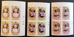 Ghana  1985 Queen Mother 85th. Birthday Imperf. Block Of Four - Ghana (1957-...)