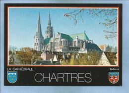 Chartres (28) Perspective Sur La Cathédrale (XIIe S.) Dominant La Ville 2 Scans - Chartres