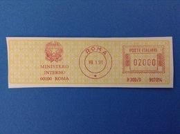 1991 ITALIA AFFRANCATURA MECCANICA ROSSA EMA RED - MINISTERO INTERNO ROMA - Affrancature Meccaniche Rosse (EMA)