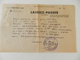 Militaria - Armentières - Laisser-Passer - N° 32 - 1945 - Documents