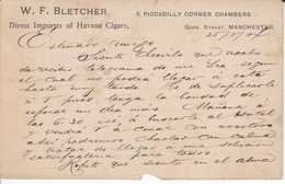 POSTAL DE W.F. BLETCHER DIRECT IMPORTER OF HAVANA CIGARS DEL AÑO 1901 (IMPORTADOR DE TABACO A MANCHESTER) - Cuba