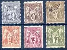 France - Type Sage - Lot De 6 - Cote : 135€ - (F092B) - 1876-1898 Sage (Type II)
