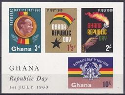 Ghana 1960 Geschichte History Republik Republic Verfassung Constitution Flagge Flag Fackel Wappen Arms, Bl. 2 ** - Ghana (1957-...)