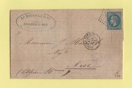 Ambulant Calais A Paris De Jour - 15 Juin 1870 - Courrier De Boulogne Sur Mer - 1849-1876: Période Classique
