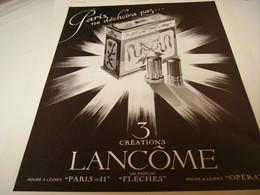 ANCIENNE PUBLICITE PARFUM CREATION DE LANCOME 1940 - Perfume & Beauty