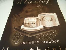 ANCIENNE PUBLICITE PARFUM A BIENTOT LENTHERIC  1939 - Perfume & Beauty