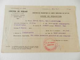 Militaria - Armentières (59) - Direction Du Roulage - Ordre De Réquisition - 1944 - Documents