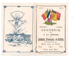 PETIT PAPIER PATRIOTIQUE  Souvenir Soldats Français Et Alliés - Morts Pour La Patrie - 1870-1871 - 1914 1916 - Patriotiques