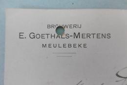 PW-EP 5 C Pellens, Brasserie-brouweri MEULEBEKE, Brouwer Brasseur Goethals-Mertens, 16-10-1912, Signé - Postwaardestukken