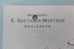 PW-EP 5 C Pellens, Brasserie-brouweri MEULEBEKE, Brouwer Brasseur Goethals-Mertens, 16-10-1912, Signé - Interi Postali