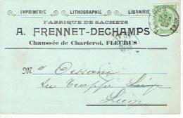 CP/PK Publicitaire FLEURUS 1910 - A. FRENNET-DECHAMPS - Imprimerie - Librairie - Lithographie - Fabrique De Sachets - Fleurus